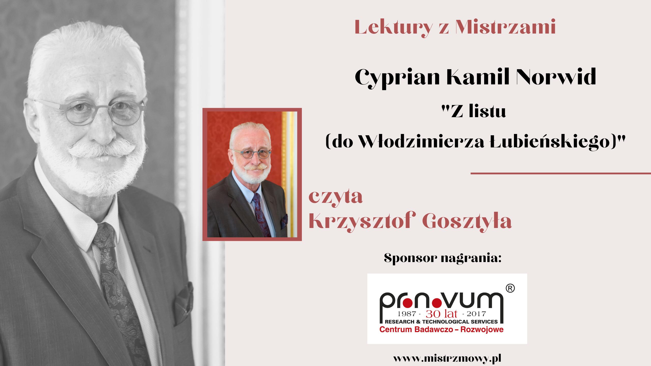 Cyprian Kamil Norwid - Z listu (do W Lubienskiego)